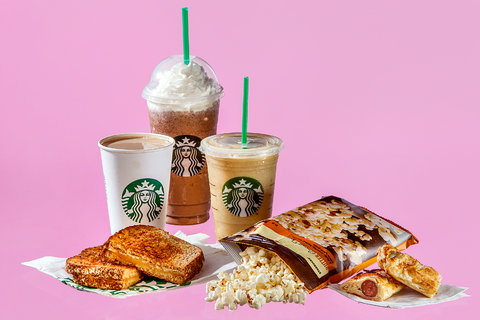 Frappucino (460), cafe con leche (190), smoothie (270), grilled cheese (580), palomitas (125), croissant (410).